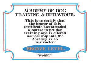 Lesley Naylor Academy of Dog Training Behaviour Bronze Level Instructor certificate