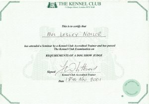 Lesley Naylor Kennel Club Accreditation for Requirements of a Dog Show Judge