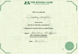 Lesley Naylor Kennel Club Accreditation Points of the Dog Assessment certificate