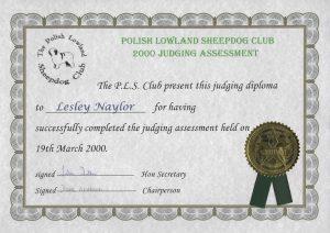 Lesley Naylor PLSC Judging Diploma