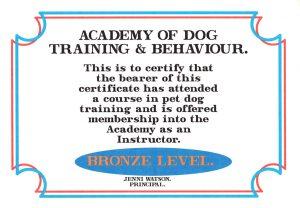 Lesley Naylor Academy of Dog Training Behaviour Bronze Level Instructor certificate